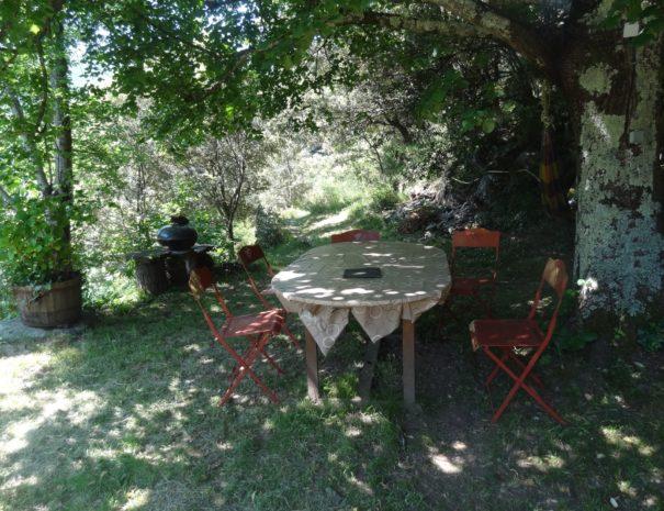 L'Angladette : Coin repas de la terrasse